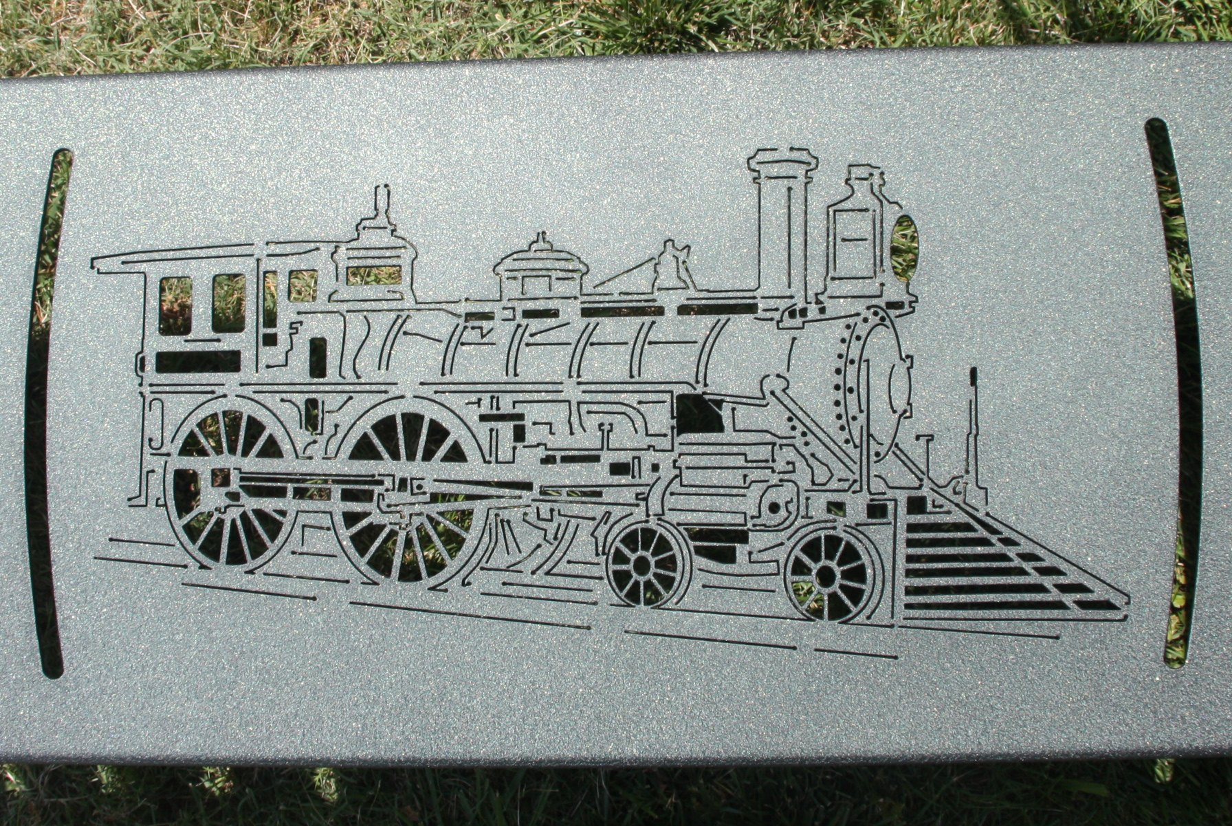 One of the train benches